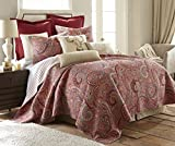 Levtex Home Spruce Red Quilt Set - King Quilt + Two King Pillow Shams - Paisley Pattern in Burgundy, Red, Tan, Grey - Quilt Size (106 x 92) and Pillow Sham Size (36 x 20)- Reversible Pattern -Cotton