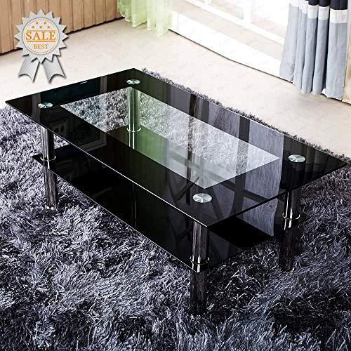 Volitation Glass Coffee Table for Living Room Modern Side Table Chrome and Metal
