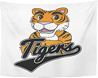 """Emvency 50""""x60"""" Indian Tapestry Mandala Hippie Wall hangings Orange Animal Tiger Mascot Design Arms Crossed Baseball Black Cartoon Character Home Decor Tapestries for Bedroom"""