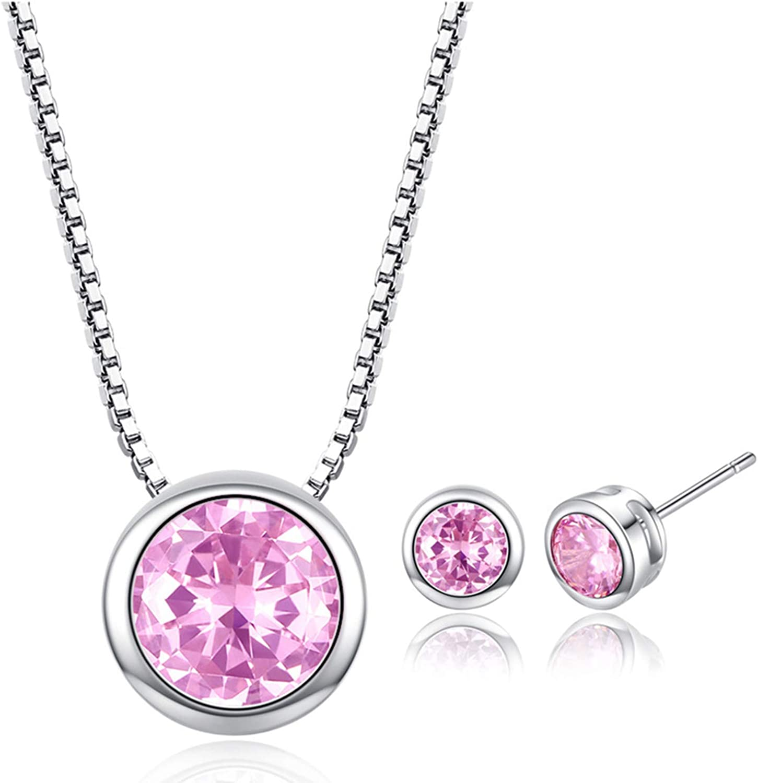 gemstoneworld Wedding Jewelry Set Round Ultra-Cheap New life Deals Cubic CZ Zirconia Si Cut