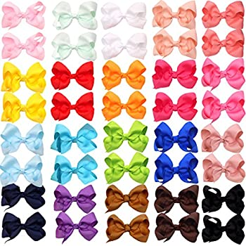 40Pieces Boutique Grosgrain Ribbon Pinwheel 3  Hair Bows Alligator Clips For Babies Toddlers Teens Gifts In Pairs