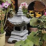 Pevfeciy Escultura al Aire Libre para Suelo, el jardín japonés de la Linterna de la Estatua, Estatua Decorativo, Creativo de la Vendimia Hace el Regalo, Solar Powered Luces al Aire Libre,A