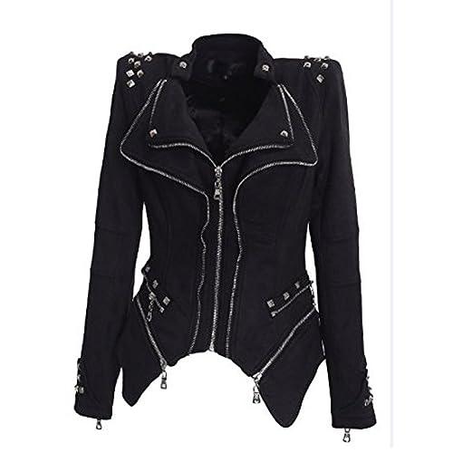 Très Chic Mayo Landa Punk Vintage Chaqueta vaqueros abrigo Solapa de chaquetas Blazer con remaches chaqueta