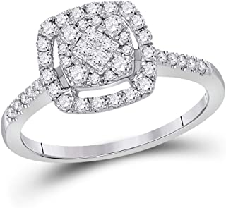 FB Jewels 14kt White Gold Womens Princess Diamond Cluster Bridal Wedding Engagement Ring 1/2 Cttw Size 7