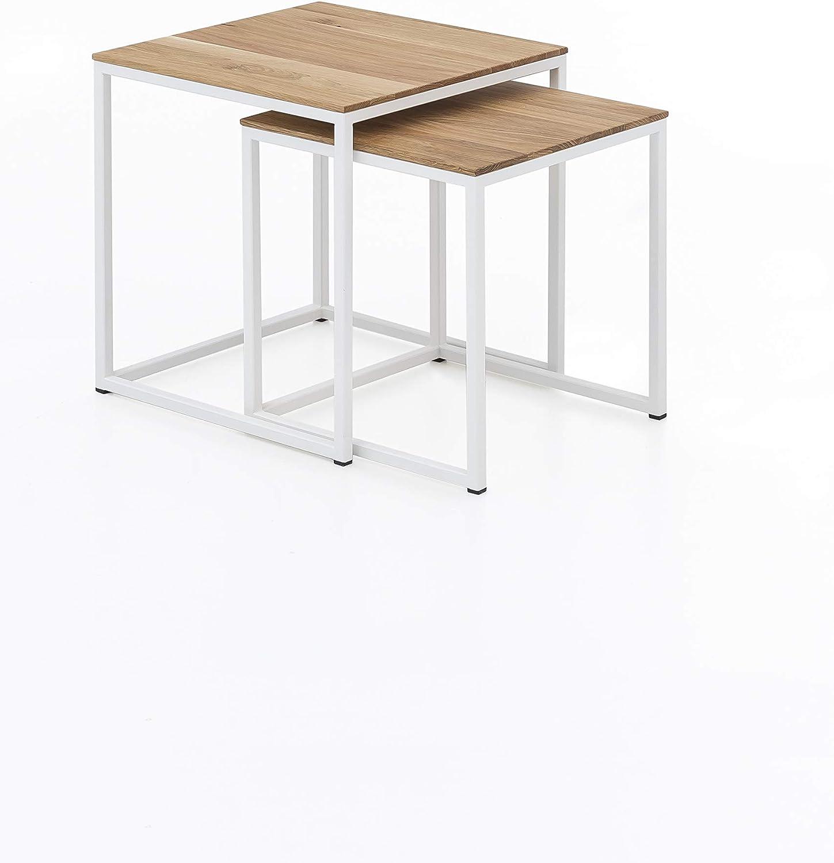 Woodlive Massivholz Couchtisch 2er Set Wildeiche Beistelltisch Holz Metallgestell Wohnzimmertisch 40 x 40 x 45 in wei