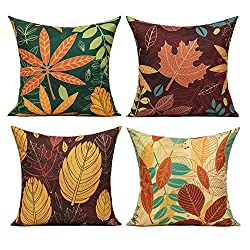 leaf pattern pillow covers