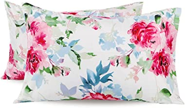 JSD Floral Printed Pillowcases Queen 2 Pack, 100 GSM Brushed Microfiber Pillow Cases Covers, Soft Durable and Wrinkle-Free