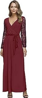 Women's Faux Wrap V-Neck Lace Sleeve Maxi Dresses