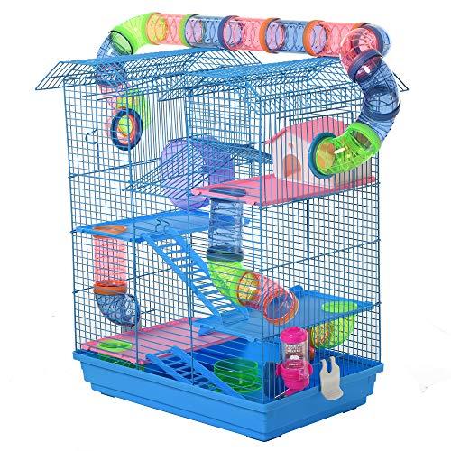 Pawhut Cage pour Hamster Souris Petit Animaux Rongeur avec Tunnel Mangeoire Roue Jouet 47 x 30 x 59 cm cm Bleu