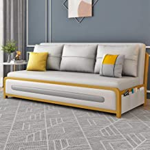 Protable Lazy Couch with Pull Out Sleeper and Multiple Storage Space, Convertible 3 Seater Sofa Bed, Compact Living Room F...