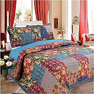 YQCX 240 260Cm Chinese Pastoral Style Flower Pattern Quilt Sets Summer Cotton Air Conditioning Quilt with Pillowcase Bed Cover Retro,Summer Quilt Mulberry Silk Quilt