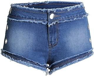 LUKEEXIN Women's Low Rise Stetchy Skinny Hollow Denim Shorts