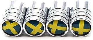 Schweden Nationalflagge Reifen Ventil Staubkappen Staubdicht Reifen Kappe Ventilschaftkappen für Autos, 4 Teile/Satz (Silber)