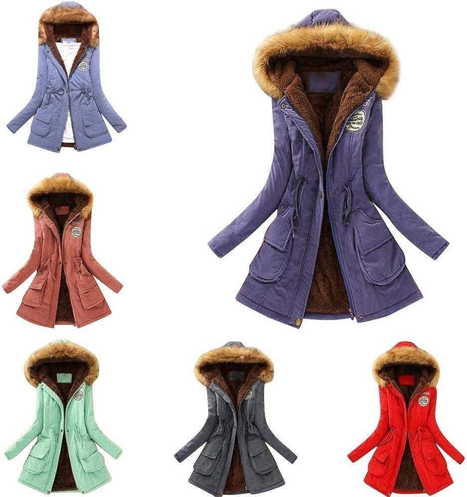 Adelina Damen Mantel Top Women Warm Long Coat Fur Collar Hooded Jacket Fashionable Completi Winter Parka Outwear Strickjacke Tops Orange