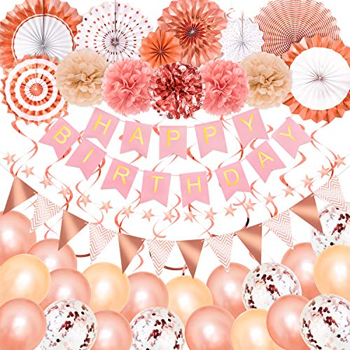 Whaline Rose Gold Birthday Party Decoration, Happy Birthday Banner, Triangle Bunting, Confetti Balloons, Hanging Swirls, Paper Pom Poms Flowers, Paper Fan Tissue, Star String, Birthday Party Supplies