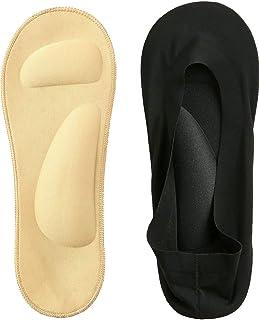 2 Pairs 3D Padded Women's No Show Nylon Socks Sponge Cushion Liner