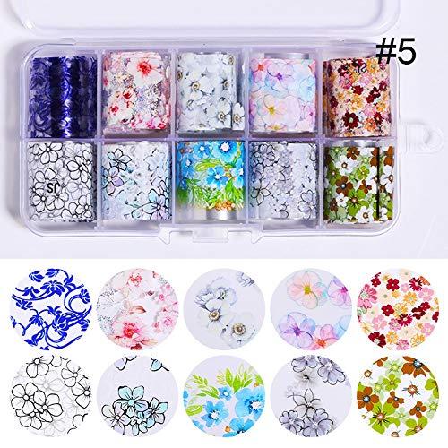 SSGFZ 10 pièces Nail Foil Couleur transparente AB transfert Nail Art Sticker 2.5 * 100cm DIY Conseils Sticker décoration (Couleur : 13PCS striping tape)