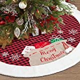 S-DEAL 48 Inches Christmas Tree Skirt Red and Black Buffalo Tree Skirt...