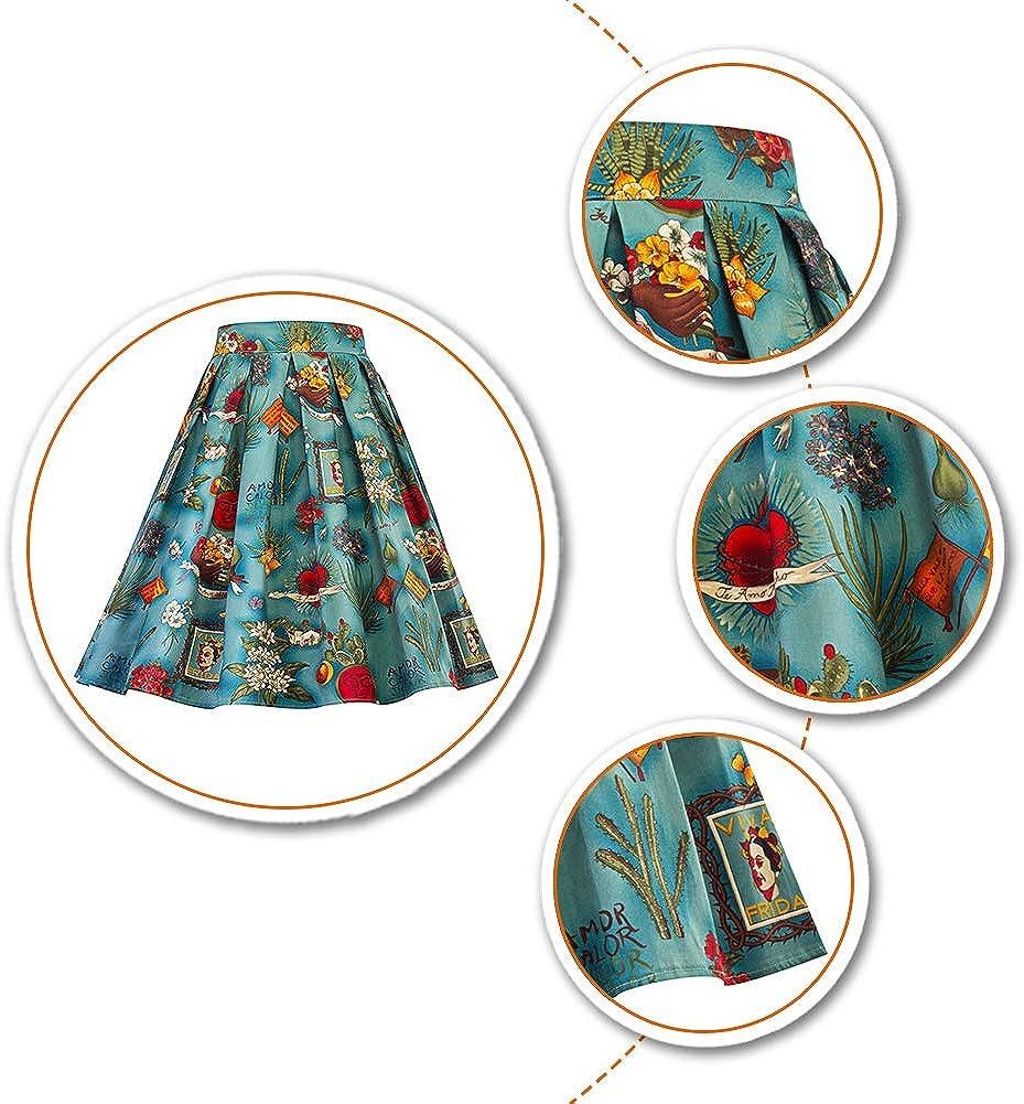 c/ócteles o c/ócteles para fiestas Falda trapezoidal para mujer fiestas 1950 S.Charma 50 60 y 1950 estilo vintage pin-up para cumplea/ños