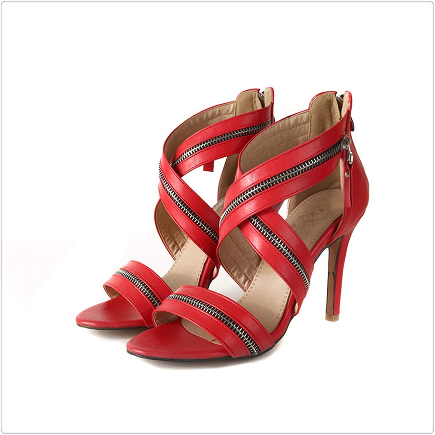 Msanlixian Super high Heels Sexy Party Metal Decoration Thin Heel Gladiator Sandals Women's shoes Large Size 32-46 Red 581-9 3.5