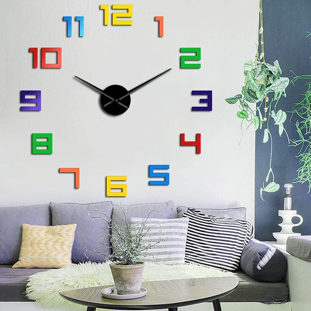 3D DIY Wall Clock Decor Arylic Sticker Arabi Superlatite Elegant Classic Colorful