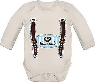 ShirtStreet Wiesn Strampler Bio Baby Body Bodysuit Langarm Jungen Mädchen Oktoberfest - Junge Lederhose Lausbub