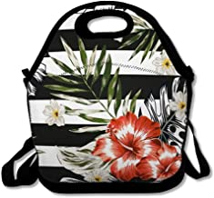 Lunch Bag Tote Boxes Bags Insulated LunchBags Blossom Beach Tropical Palm Leaves Red Hibiscus Flowers Plumeria Nature Botanical Drawing Exotic Lunch Box for Office Work School Student