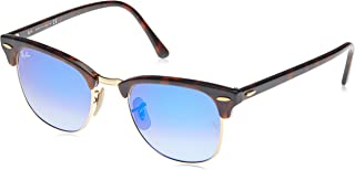 Ray-Ban CLUBMASTER - SHINY RED/HAVANA Frame BLU FLASH GRADIENT Lenses 51mm Non-Polarized
