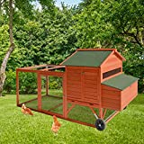 Kinbor Wooden Chicken Coop Rabbit Poultry Cage with Wheels Outdoor Large Rabbit Hutch with Run Removable Tray and Ramp