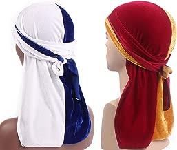 Women Men Two Tone Velvet Durags for Rapper 360 Waves Cap Premium Chemo Du-Rag Hat