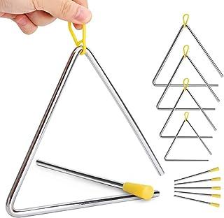 Paquete de 5 triángulos de percusión de mano con golpeador para triángulo de música, iluminación de música para niños, 5 t...