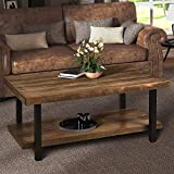 Easy Assembly Rustic Natural Coffee Table with Storage Shelf for Living Room (Rectangle)