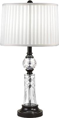 Dale Tiffany GT18312 Darya 24% Lead Hand-Cut Crystal Table Lamp, Ebony Black/White
