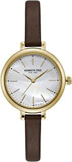 Kenneth Cole Women's Silver Dial Genuine Leather Band Watch - KC50065005