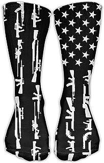 Calcetines clásicos para hombre y mujer, diseño de pistola, bandera estadounidense, calcetines atléticos personalizados, 30 cm de largo para toda la temporada
