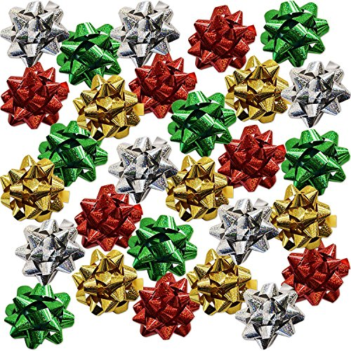 60 4' Christmas Bows Self Adhesive for Wrapping Holiday Gifts Presents in Red Green Gold and Silver by Gift Boutique