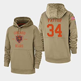 Littlearth Chicago Bears #34 Walter Payton 2019 Salute to Service Sideline Therma Pullover Hoodie Men L