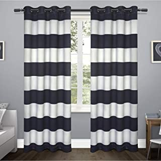 Exclusive Home Curtains Rugby Sateen Window Curtain Panel Pair with Grommet Top, 52x96, Navy, 2 Piece