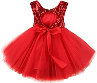 AGQT Baby Girls Sequins Tutu Dress Sleeveless Kids Tulle Princess Pageant Birthday Party Dresses Formal Gowns