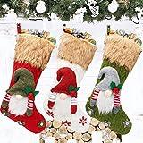 50 CM Medias de Navidad 3 Piezas Calcetín de Navidad Decoración Árbol de Navidad Calcetines Navidad Chimenea Papá Noel Monigote de Nieve Reno Decoración Navidad Casa Calcetines Navidad para Colgar