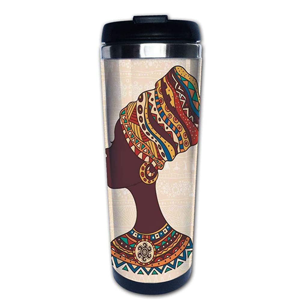 Stainless Steel Insulated Coffee Travel Mug,Traditional Ethnic Fashion Dress Portrait Glamour,Spill Proof Flip Lid Insulated Coffee cup Keeps Hot or Cold 13.6oz(400 ml) Customizable printing