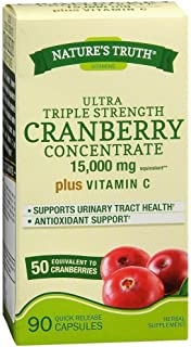 Nature's Truth Triple Strength Cranberry Concentrate 15000 mg Plus Vitamin C Capsules 90 ea ( Pack of 4)