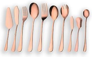 Berglander Juego de cubiertos y cubiertos de oro rosa, Juego de cubiertos y cubiertos de cobre, Servidor de pastel, Cuchillo de pescado, Tenedor para pescado, Cuchara para servir, Servicio