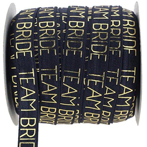 """Midi Ribbon Fold Over Elastic 5/8"""" FOE - Team Bride - Bachelorette and Wedding Shower Party Favors for Bridesmaids - 10 Yards/Pack Black"""
