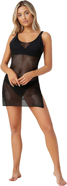 SweatyRocks Women's Hollow Out Split Hem Crochet Bikini Cover Up Dress