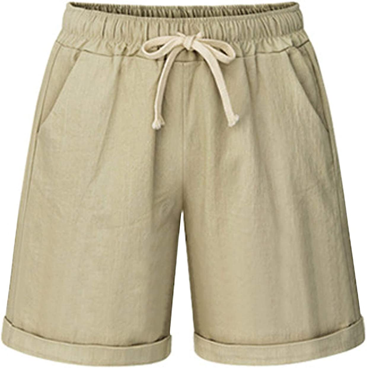 HOW'ON Women's Elastic Waist Casual Comfy Cotton Beach Shorts with Drawstring