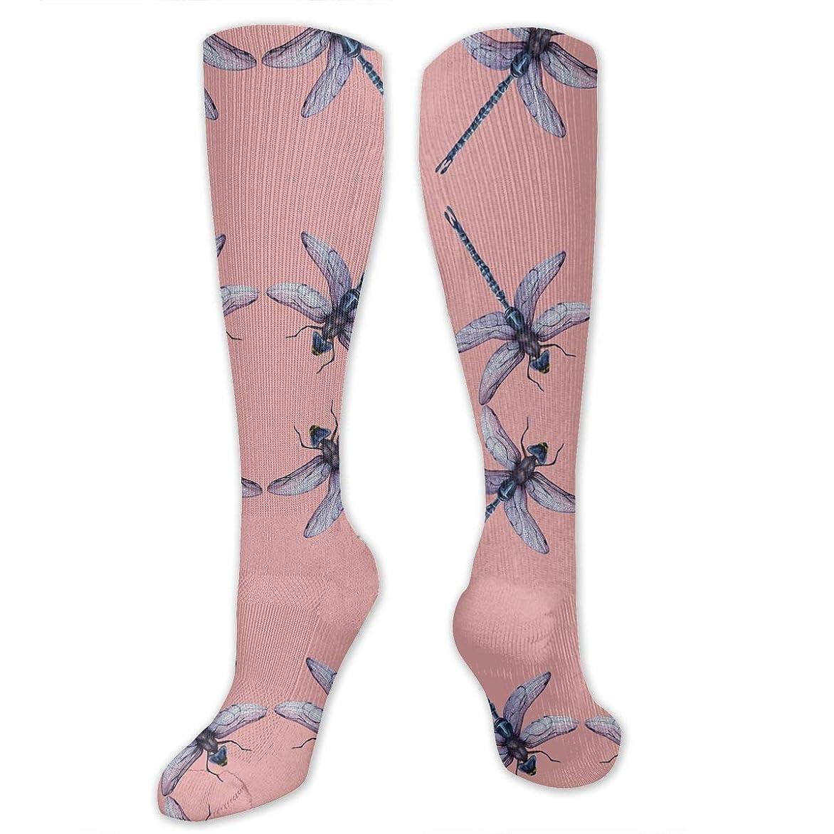 尊厳ファンシー計器女性の男性のためのQrriy 3 Dトンボ昆虫ピンク圧縮靴下-スポーツスポーツクロスフィットフライト旅行妊娠看護師(20-30 mmhg)を実行するためのフィット