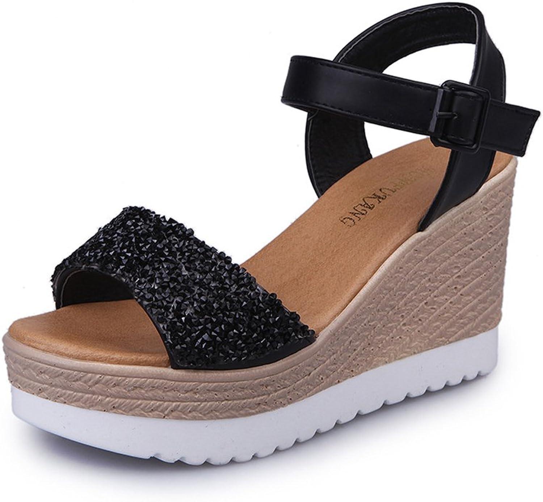 ISHOP-Tech Women's Casual Open Toes Mid Heels Platform Wedges Summer Diamond Sandals Black