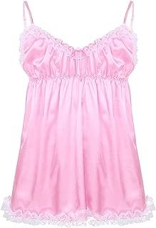 Frilly Lace Sissy Maid Dress Lingerie Men Satin Nightwear Pajamas Girly Sleepwear Nightgown