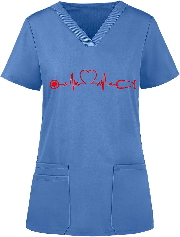 Women Short Sleeve Working Uniform Workw Print Pocket Scrub_Tops Oakland Mall Tampa Mall